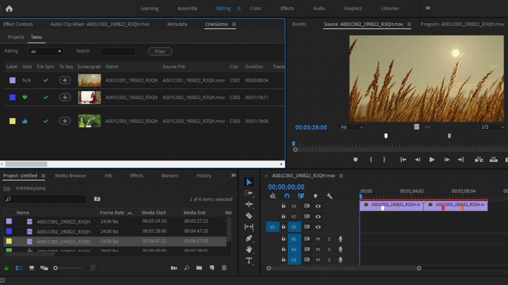 CineTakes Adobe Premiere Plugin