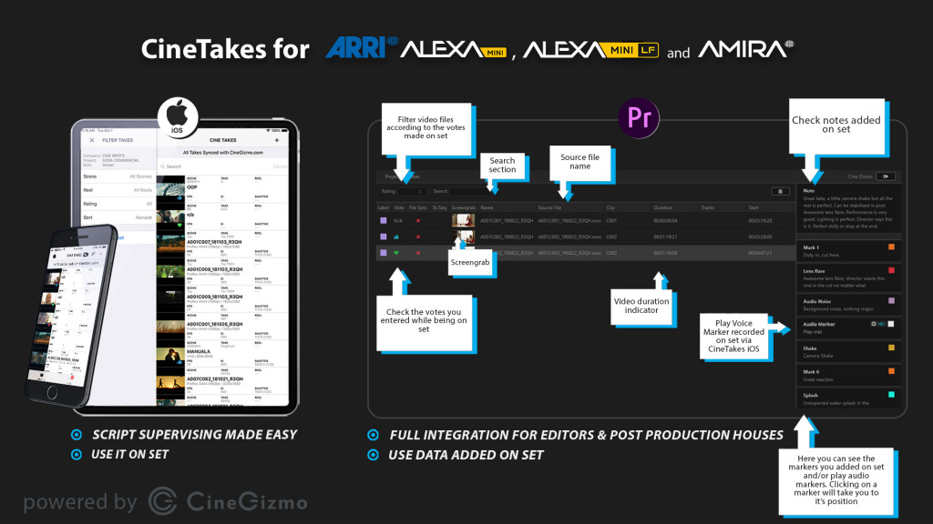CineGizmo introduces CineTakes Plugin for Adobe Premiere for easier takes and metadata collection during shoots using professional ARRI workflows with ARRI ALEXA Mini, Mini LF and AMIRA